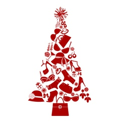 christmas tree female gifts vector image vector image