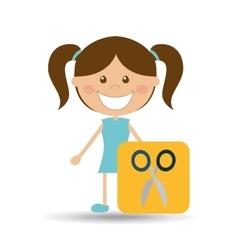 happy girl student school scissors icon vector image