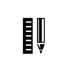 pencil and ruler flat icon vector image
