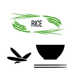 set of rice plants and bowl with long-grained rice vector image