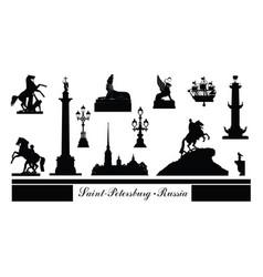st petersburg city symbol set russia tourist vector image vector image