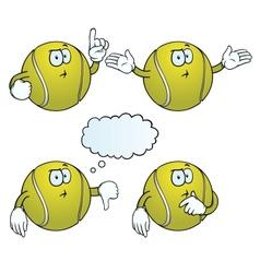 Thinking tennis ball set vector image vector image