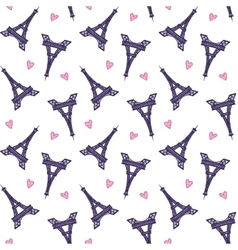 Eiffel Towers romantic seamless pattern vector image vector image