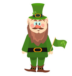 leprechaun presenting holiday little green man vector image