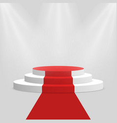 Red carpet and podium white round pedestal with vector