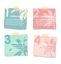 Set of stick notes papers with silhouette of palm vector
