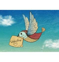 bird with valentine Invitation card vector image