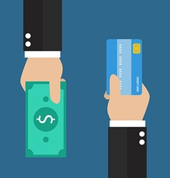 Businessman hand with credit card and cash back vector image vector image