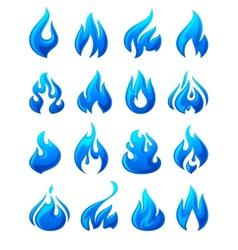 Fire flames set 3d blue icons vector