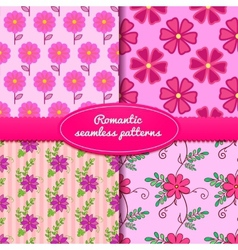Four seamless romantic patterns vector image