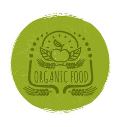 grunge organic food label or banner design vector image vector image