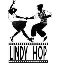 Lindy hop silhouette vector image vector image