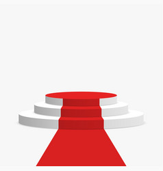 red carpet and podium white round pedestal with vector image vector image