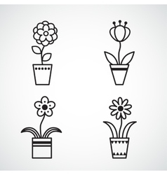 Set of flat icon flower icons silhouette isolated vector image vector image