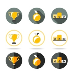 Winners icons set - Cup Medal and pedestal vector image