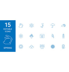 15 spring icons vector