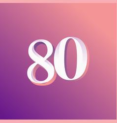 80 years anniversary rainbow number template vector