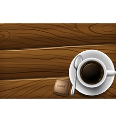 A topview of a table with a cup of coffee vector
