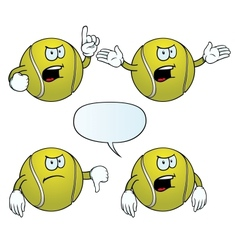 Angry tennis ball set vector image