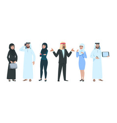 arab business people elegant saudi woman and man vector image