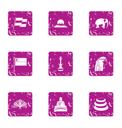 Asian pastime icons set grunge style vector