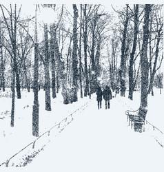 Avenue trees in winter park vector