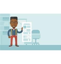 Black man happy standing inside his office vector