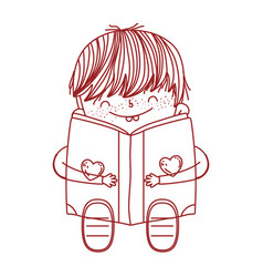 Book day cute boy sitting reading book isolated vector