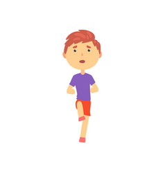 Boy doing sport exercise kids physical activity vector