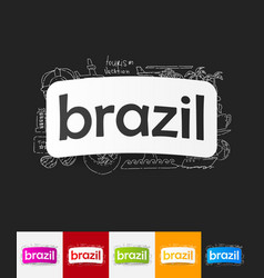 Brazil paper sticker with hand drawn elements vector