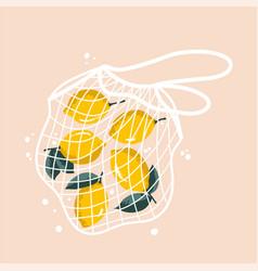 Bright lemons in reusable grocery shopping bag vector