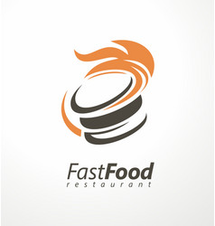 burger logo for fast food restaurant vector image