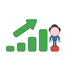 Businessman character standing on sales bar graph vector