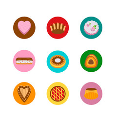 cakes icons in circles vector image
