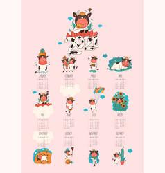 Calendar or planner 2021 kawaii cartoon ox image vector