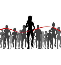 cartoon black characters people marathon runners vector image