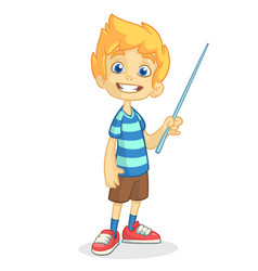cartoon little boy presenting vector image