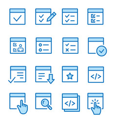 Checklist flat line icon set vector
