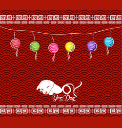 Chinese new year 2018 lantern background with dog vector