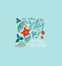 christmas square greeting card with winter plants vector image