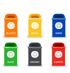 colored trash cans flat isolated vector image