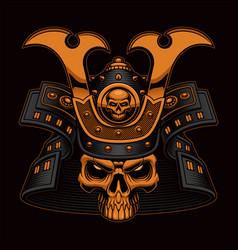 colorful samurai skull vector image