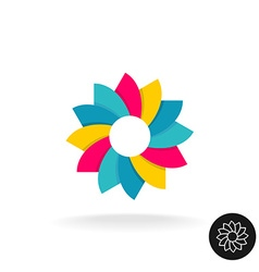 Colorful sun flower logo Abstract symbol with vector image