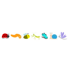 cute cartoon insect set line mantis ladybug vector image