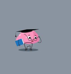 cute human brain organ pink cartoon character in vector image