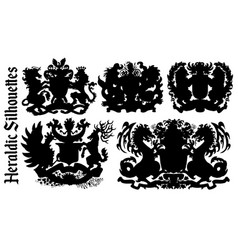 design set with heraldic element silhouettes vector image
