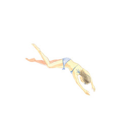 diving girl in swimsuit vector image