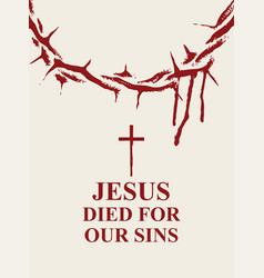 Easter banner with crown of thorns and inscription vector