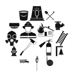 firefighter black simple icons set vector image