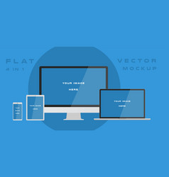 Flat computer monitor laptop tablet smartphone vector